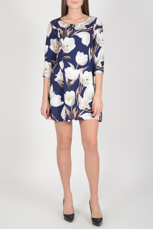 ПлатьеПлатья<br>Цветное платье трапециевидного силуэта с круглой горловиной и рукавами 3/4. Модель выполнена из приятного материала. Отличный выбор для повседневного гардероба.  Длина изделия по спинке до 48 размера - 82 см., от 48 размера 83 см.  В изделии использованы цвета: синий, молочный и др.  Рост девушки-фотомодели 175 см.  Параметры размеров: 42 размер - обхват груди 84 см., обхват талии 66 см., обхват бедер 92 см. 44 размер - обхват груди 88 см., обхват талии 70 см., обхват бедер 96 см. 46 размер - обхват груди 92 см., обхват талии 74 см., обхват бедер 100 см. 48 размер - обхват груди 96 см., обхват талии 78 см., обхват бедер 104 см. 50 размер - обхват груди 100 см., обхват талии 82 см., обхват бедер 108 см. 52 размер - обхват груди 104 см., обхват талии 86 см., обхват бедер 112 см. 54 размер - обхват груди 108 см., обхват талии 91 см., обхват бедер 116 см. 56 размер - обхват груди 112 см., обхват талии 95 см., обхват бедер 120 см. 58 размер - обхват груди 116 см., обхват талии 100 см., обхват бедер 124 см. 60 размер - обхват груди 120 см., обхват талии 105 см., обхват бедер 128 см.<br><br>Горловина: С- горловина<br>По длине: До колена<br>По материалу: Тканевые<br>По рисунку: Растительные мотивы,С принтом,Цветные,Цветочные<br>По силуэту: Полуприталенные<br>По стилю: Повседневный стиль<br>По форме: Платье - трапеция<br>Рукав: Рукав три четверти<br>По сезону: Осень,Весна<br>Размер : 44,46,48<br>Материал: Плательная ткань<br>Количество в наличии: 8