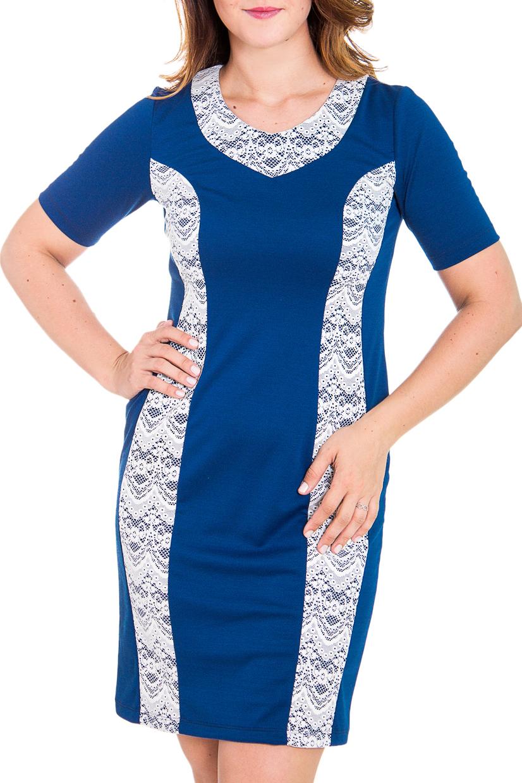 ПлатьеПлатья<br>Классическое женское платье приталенного силуэта с гипюровыми встаками и короткими рукавами. Цвет: синий, белый.  Рост девушки-фотомодели 180 см<br><br>Горловина: С- горловина<br>По длине: До колена<br>По материалу: Вискоза,Гипюр,Трикотаж<br>По рисунку: Однотонные<br>По силуэту: Приталенные<br>По стилю: Классический стиль,Повседневный стиль<br>По форме: Платье - футляр<br>По элементам: С декором<br>Рукав: Короткий рукав<br>По сезону: Осень,Весна,Зима<br>Размер : 46<br>Материал: Джерси<br>Количество в наличии: 1