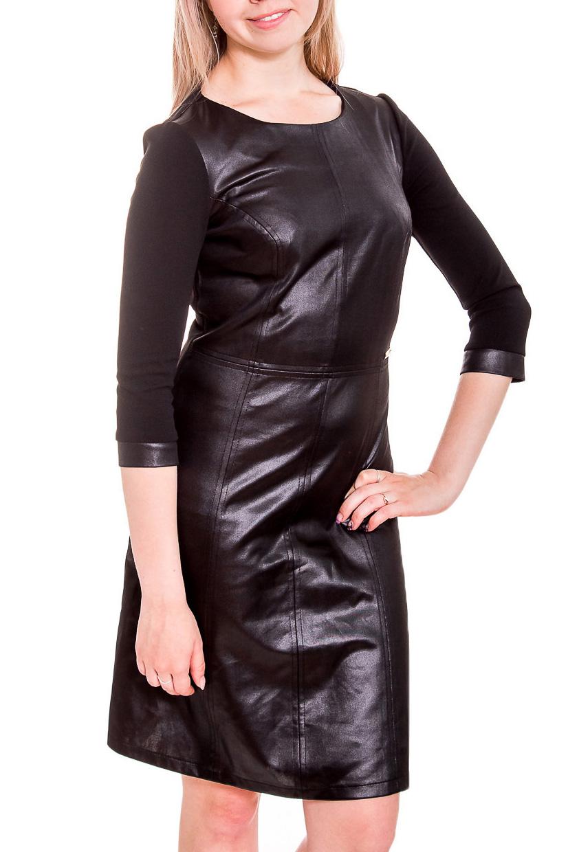 ПлатьеПлатья<br>Эффектное кожанное платье. Модель выполнена из приятного материала. Отличный выбор для повседневного гардероба.  Длина рукава - 50 см.  Цвет: черный  Рост девушки-фотомодели 170 см.<br><br>Горловина: С- горловина<br>По длине: До колена<br>По материалу: Трикотаж,Искусственная кожа<br>По рисунку: Однотонные<br>По силуэту: Приталенные<br>По стилю: Байкерский стиль,Готический стиль,Повседневный стиль<br>По форме: Платье - футляр<br>По элементам: С манжетами,С пуговицами<br>Рукав: Рукав три четверти<br>По сезону: Осень,Весна,Зима<br>Размер : 44<br>Материал: Трикотаж + Искусственная кожа<br>Количество в наличии: 1