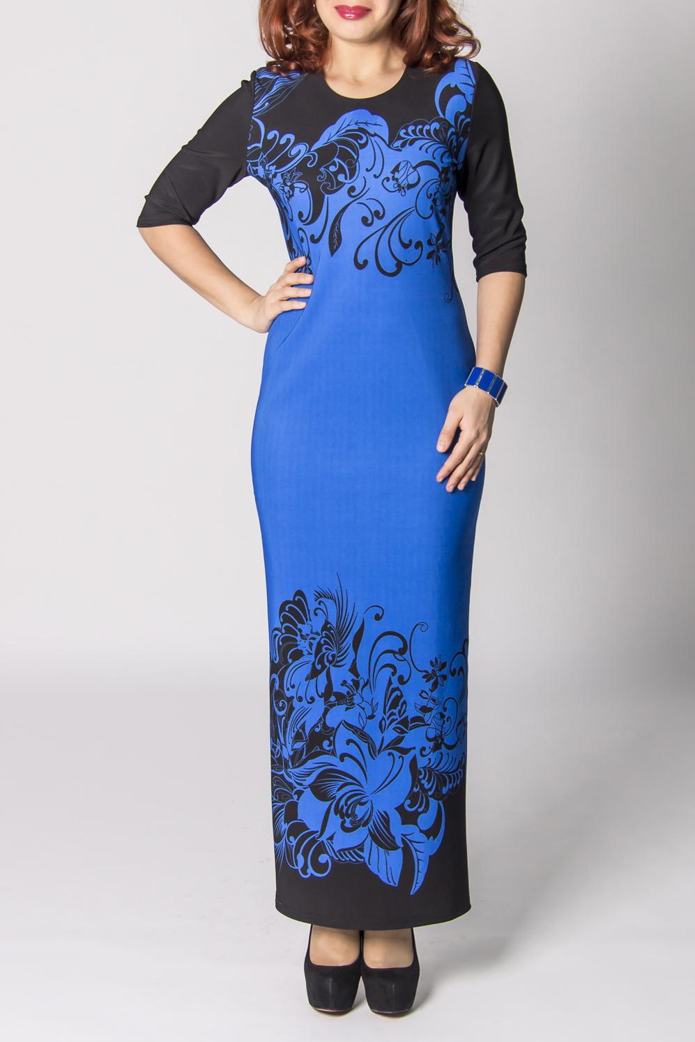 ПлатьеПлатья<br>Эффектное женское платье в пол с круглой горловиной и рукавами 3/4. Модель выполнена из приятного трикотажа. Отличный выбор для любого случая.  Цвет: синий, черный  Рост девушки-фотомодели 170 см.<br><br>Горловина: С- горловина<br>По материалу: Вискоза,Трикотаж<br>По силуэту: Полуприталенные<br>По стилю: Повседневный стиль<br>Рукав: Рукав три четверти<br>По длине: Макси<br>По рисунку: Цветные,С принтом<br>По элементам: С разрезом<br>Разрез: Длинный<br>По сезону: Осень,Весна,Зима<br>Размер : 44<br>Материал: Джерси<br>Количество в наличии: 1