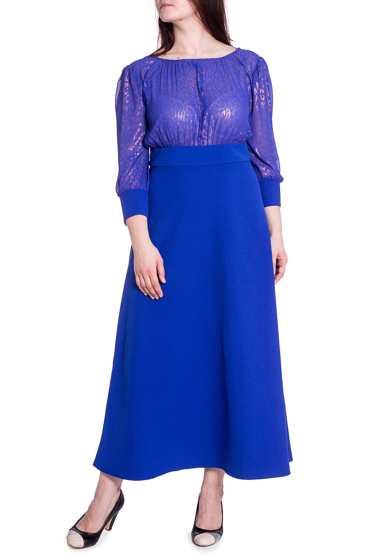 ПлатьеПлатья<br>Цветное платье в пол с элегантной горловиной. Модель выполнена из приятного трикотажа и воздушного шифона. Отличный выбор для любого случая. Ростовка изделия 164 см.  В изделии использованы цвета: синий, розовый  Рост девушки-фотомодели 180 см<br><br>Горловина: С- горловина<br>По длине: Макси<br>По материалу: Трикотаж,Шифон<br>По сезону: Весна,Зима,Лето,Осень,Всесезон<br>По силуэту: Приталенные<br>По стилю: Нарядный стиль<br>По форме: Платье - трапеция<br>По элементам: С манжетами<br>Рукав: Рукав три четверти<br>По рисунку: С принтом,Цветные<br>Размер : 48,50,52,54,56<br>Материал: Плательная ткань + Шифон<br>Количество в наличии: 5