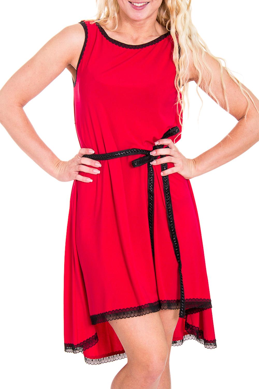 ПлатьеПлатья<br>Прекрасное женское платье со шлейфом. Модель выполнена из мягкой вискозы. Отличный выбор для любого торжества. Платье без пояса   Цвет: красный, черный  Рост девушки-фотомодели 170 см<br><br>Горловина: С- горловина<br>По длине: До колена<br>По материалу: Вискоза<br>По рисунку: Однотонные<br>По сезону: Лето<br>По элементам: С декором,Со шлейфом<br>Рукав: Без рукавов<br>По силуэту: Свободные<br>По стилю: Молодежный стиль,Повседневный стиль<br>По форме: Платье - трапеция<br>Размер : 46<br>Материал: Вискоза<br>Количество в наличии: 1