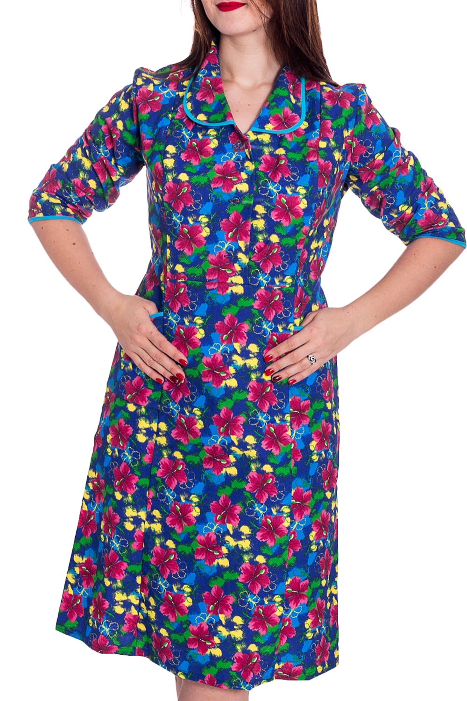 ПлатьеПлатья<br>Хлопковое платье с рукавами 3/4. Домашняя одежда, прежде всего, должна быть удобной, практичной и красивой. В нашей домашней одежде Вы будете чувствовать себя комфортно, особенно, по вечерам после трудового дня.  В изделии использованы цвета: синий, розовый, зеленый и др.  Рост девушки-фотомодели 180 см.<br><br>По длине: До колена<br>По материалу: Хлопок<br>По рисунку: Растительные мотивы,С принтом,Цветные,Цветочные<br>По сезону: Весна,Зима,Лето,Осень,Всесезон<br>По силуэту: Полуприталенные<br>По элементам: С карманами<br>Рукав: Рукав три четверти<br>Размер : 48,54<br>Материал: Хлопок<br>Количество в наличии: 2