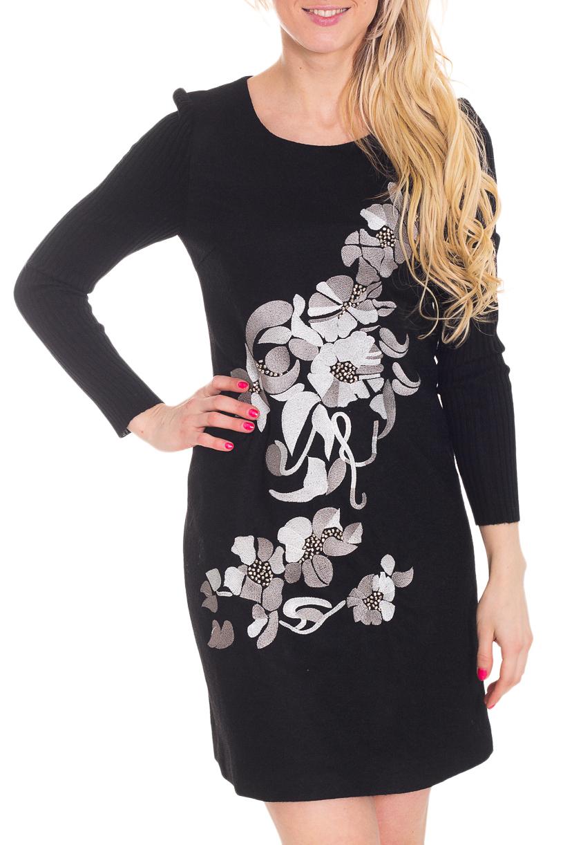 ПлатьеПлатья<br>Красивое платье на подкладе с декоративной вышивкой и бусинами. На спинке молния. Вязаный трикотаж - это красота, тепло и комфорт. В вязанной одежде очень легко оставаться женственной и в то же время не замёрзнуть.  Цвет: черный, белый, серый  Рост девушки-фотомодели 170 см<br><br>Горловина: С- горловина<br>По длине: До колена<br>По материалу: Ангора,Хлопок<br>По рисунку: Растительные мотивы,С принтом,Цветные,Цветочные,Вышивка<br>По силуэту: Приталенные<br>По стилю: Повседневный стиль<br>По форме: Платье - футляр<br>По элементам: С декором<br>Рукав: Длинный рукав<br>По сезону: Зима<br>Размер : 44<br>Материал: Ангора<br>Количество в наличии: 2