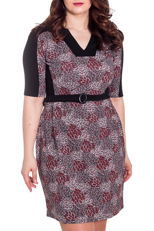 ПлатьеПлатья<br>Красивое платье с V-образной горловиной и рукавами до локтя. Модель выполнена из приятного материала. Отличный выбор для повседневного гардероба. Платье дополнено поясом.  Цвет: черный, серый, бордовый  Рост девушки-фотомодели 180 см.<br><br>По сезону: Осень,Весна,Зима<br>Горловина: Фигурная горловина<br>По длине: До колена<br>По материалу: Трикотаж<br>По образу: Город,Свидание<br>По рисунку: С принтом,Цветные<br>По силуэту: Полуприталенные<br>По стилю: Повседневный стиль<br>По форме: Платье - футляр<br>Рукав: До локтя,Рукав три четверти<br>Размер : 48,50<br>Материал: Трикотаж<br>Количество в наличии: 3