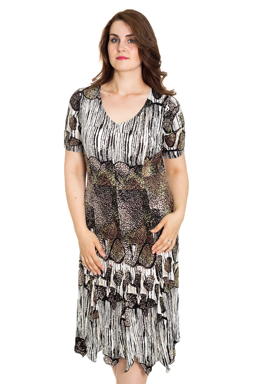 ПлатьеПлатья<br>Цветное платье с V-образной горловиной и короткими рукавами. Модель выполнена из мягкой вискозы. Отличный выбор для повседневного гардероба.  Цвет: белый, черный, коричневый, зеленый  Рост девушки-фотомодели 180 см<br><br>Горловина: V- горловина<br>По длине: Ниже колена<br>По материалу: Вискоза,Трикотаж<br>По рисунку: С принтом,Цветные<br>По силуэту: Полуприталенные<br>По стилю: Повседневный стиль<br>По элементам: С фигурным низом<br>Рукав: Короткий рукав<br>По сезону: Лето<br>Размер : 52,56<br>Материал: Трикотаж<br>Количество в наличии: 2