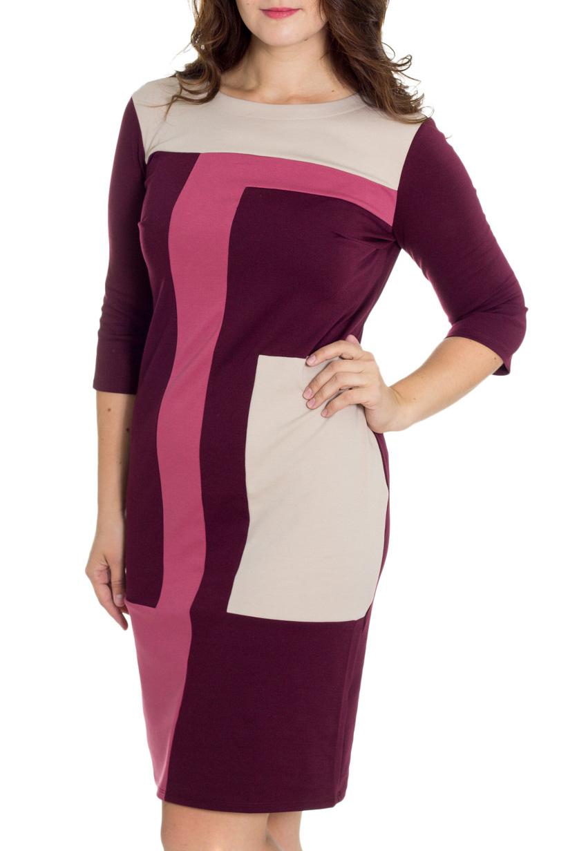 ПлатьеПлатья<br>Элегантное платье построенное на сочетании трёх контрастных цветов и ассиметричном рисунке. Классический вариант для офиса. Ткань характеризуется эластичностью, растяжимостью и мягкостью. Рукав 3/4. Плотность ткани 280 гр/м2  Длина платья 98-100 см.  В изделии использованы цвета: бордовый, розовый, белый  Рост девушки-фотомодели 180 см<br><br>Горловина: С- горловина<br>По длине: Ниже колена<br>По материалу: Вискоза,Трикотаж<br>По рисунку: Цветные<br>По силуэту: Приталенные<br>По стилю: Повседневный стиль<br>По форме: Платье - футляр<br>Рукав: Рукав три четверти<br>По сезону: Осень,Весна,Зима<br>Размер : 48,50,52,54<br>Материал: Трикотаж<br>Количество в наличии: 4