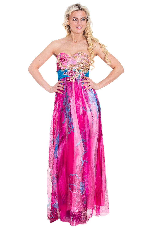 ПлатьеПлатья<br>Эффектное платье в пол. Модель выполнена из гладкого атласа и гипюровой сетки. Прекрасный вариант для любого торжества.  Цвет: розовый, мультицвет  Рост девушки-фотомодели 170 см<br><br>По образу: Выход в свет<br>По стилю: Нарядный стиль<br>По материалу: Гипюровая сетка,Атлас<br>По рисунку: Абстракция,Цветные<br>По сезону: Весна,Всесезон,Зима,Лето,Осень<br>По силуэту: Полуприталенные<br>По элементам: С открытыми плечами,С завышенной талией<br>По форме: Платье - трапеция<br>По длине: Макси<br>Рукав: Без рукавов<br>Размер: 44,46<br>Материал: 100% полиэстер<br>Количество в наличии: 2