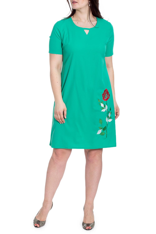 ПлатьеПлатья<br>Однотонное платье с декоративным вырезом quot;капелькаquot; и вышивкой на подоле. Модель выполнена из приятного материала. Отличный выбор для любого случая.  В изделии использованы цвета: зеленый  Рост девушки-фотомодели 180 см<br><br>Горловина: С- горловина<br>По длине: До колена<br>По материалу: Тканевые<br>По рисунку: Вышивка,Однотонные,Растительные мотивы,Цветочные<br>По силуэту: Полуприталенные<br>По стилю: Летний стиль,Повседневный стиль<br>По форме: Платье - трапеция<br>По элементам: С декором<br>Рукав: Короткий рукав<br>По сезону: Лето<br>Размер : 50,52,54,56<br>Материал: Плательная ткань<br>Количество в наличии: 4