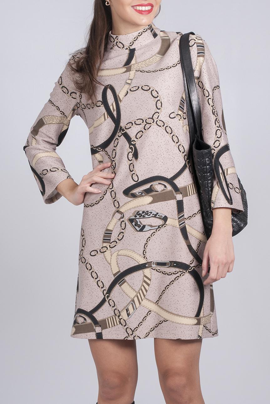 ПлатьеПлатья<br>Стильное женское платье прилегающего силуэта, по спинке изделия замок на молнии. Нежная расцветка ткани и принт делают его более женственным.   Параметры изделия:  42 размер: полуобхват по линии груди - 46 см, полуобхват по линии бедра 48 - см, длина спинки 88,5 - см;  50 размер: полуобхват по линии груди - 54 см, полуобхват по линии бедра 56 - см, длина спинки 90,5 - см, рукав - реглан, длина рукава - 7/8  Цвет: бежевый, коричневый  Рост девушки-фотомодели 170 см<br><br>Воротник: Стойка<br>По длине: До колена<br>По материалу: Трикотаж<br>По рисунку: С принтом,Цветные<br>По силуэту: Полуприталенные<br>По стилю: Повседневный стиль<br>По форме: Платье - трапеция<br>Рукав: Длинный рукав<br>По сезону: Осень,Весна,Зима<br>Размер : 46<br>Материал: Джерси<br>Количество в наличии: 1