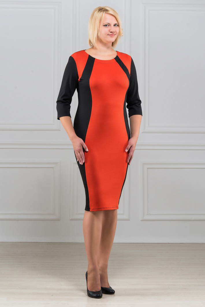 ПлатьеПлатья<br>Элегантное платье построенное на сочетании двух контрастных цветов и ассиметричном рисунке. Классический вариант для офиса. Ткань характеризуется эластичностью, растяжимостью и мягкостью. Плотность ткани 280 гр/м2  Длина платья 100-105 см.  В изделии использованы цвета: черный, оранжевый  Рост девушки-фотомодели 173 см<br><br>Горловина: С- горловина<br>По длине: Ниже колена<br>По материалу: Вискоза,Трикотаж<br>По рисунку: Цветные<br>По силуэту: Приталенные<br>По стилю: Повседневный стиль<br>По форме: Платье - футляр<br>Рукав: Рукав три четверти<br>По сезону: Осень,Весна,Зима<br>Размер : 48,50,52,54,56,58<br>Материал: Трикотаж<br>Количество в наличии: 6