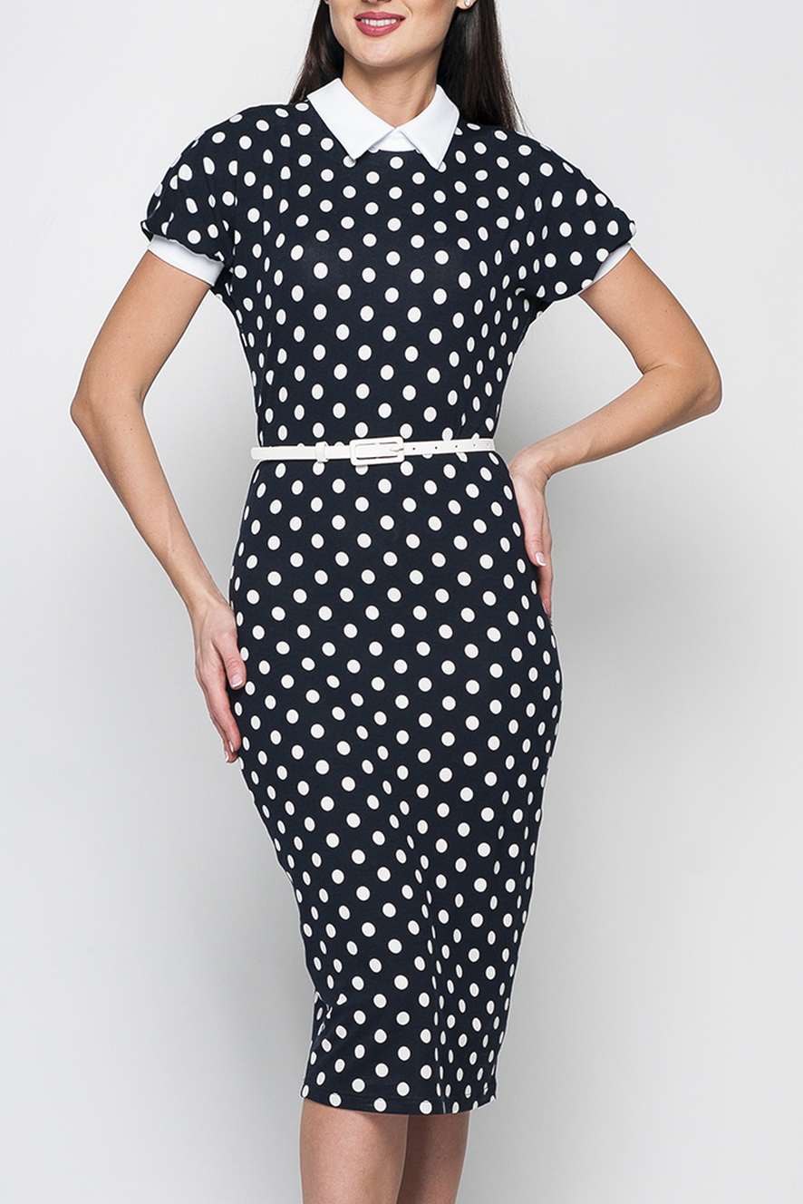 ПлатьеПлатья<br>Элегантное трикотажное платье прилегающего силуэта длиной чуть ниже колена. Модель дополнена отложным контрастным воротничком, рукава оформлены манжетами. В верхней части спины расположен разрез, дополненный застежкой на пуговицу.  Платье без пояса.  Параметры изделия:  44 размер: обхват груди - 90 см, обхват бедер - 90 см, длина рукава - 23 см, длина изделия - 106 см;   Цвет: черный, белый  Рост девушки-фотомодели 170 см<br><br>Воротник: Рубашечный<br>По длине: Ниже колена<br>По материалу: Вискоза<br>По рисунку: В горошек,С принтом,Цветные<br>По сезону: Лето,Осень,Весна<br>По силуэту: Приталенные<br>По стилю: Повседневный стиль<br>По форме: Платье - футляр<br>По элементам: С манжетами<br>Рукав: Короткий рукав<br>Размер : 42,44<br>Материал: Вискоза<br>Количество в наличии: 2