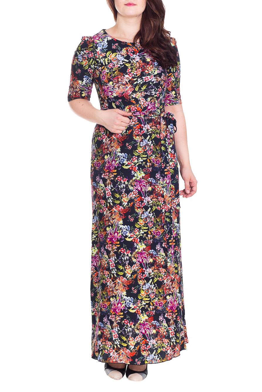 ПлатьеПлатья<br>Замечательное платье в пол с круглой горловиной и рукавами до локтя. Модель выполнена из приятного материала. Отличный выбор для повседневного гардероба. Платье без пояса  Цвет: черный, розовый, коралловый, салатовый, зеленый  Рост девушки-фотомодели 180 см.<br><br>Горловина: С- горловина<br>По длине: Макси<br>По материалу: Тканевые<br>По рисунку: Растительные мотивы,С принтом,Цветные,Цветочные<br>По сезону: Весна,Осень<br>По силуэту: Полуприталенные<br>По стилю: Повседневный стиль<br>Рукав: До локтя<br>Размер : 48<br>Материал: Плательная ткань<br>Количество в наличии: 1