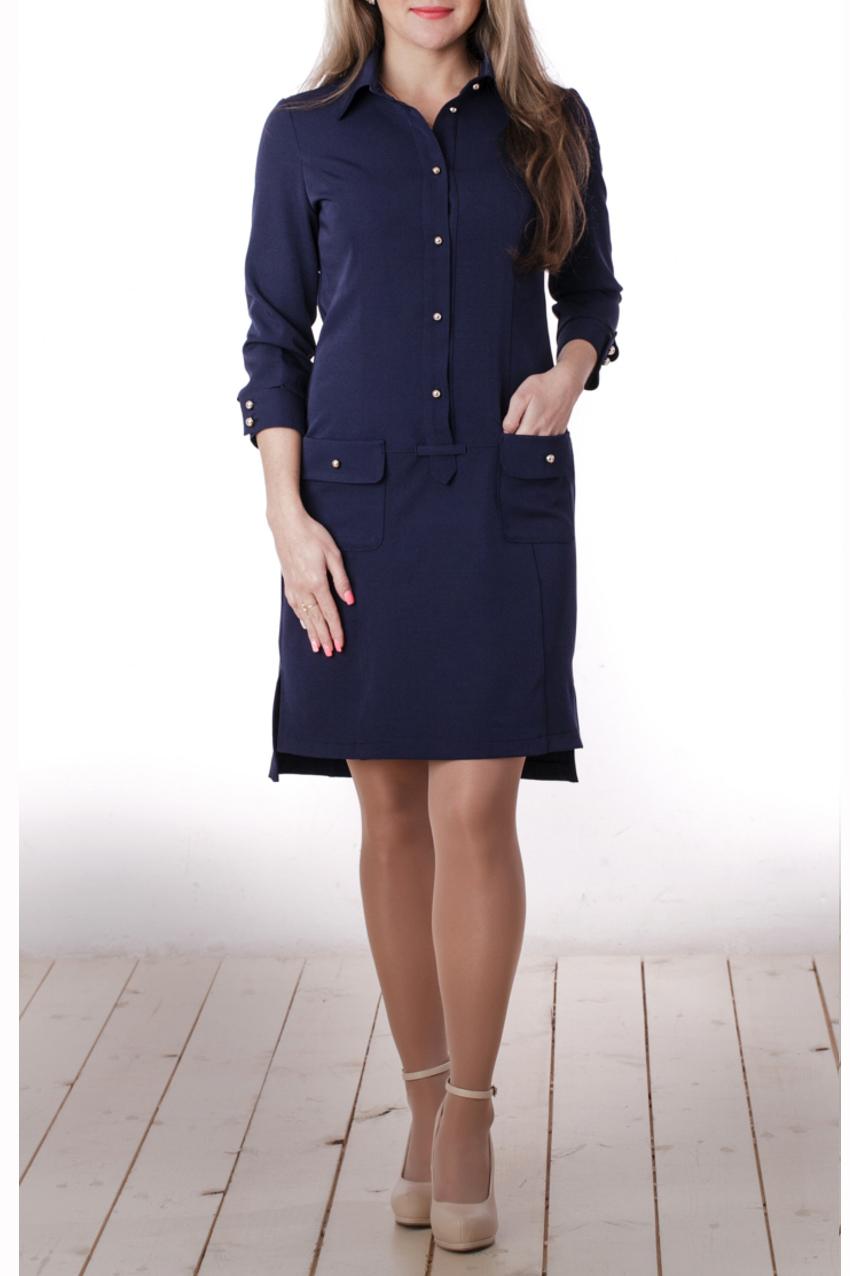 ПлатьеПлатья<br>Интересное женское платье с рубашечной горловиной и рукавами 3/4. Модель выполнена из костюмной ткани. Отличный выбор для повседневного и делового гардероба.  Цвет: синий  Длина изделия 94 см  Длина рукава 47 см   Рост девушки-фотомодели 163 см<br><br>Воротник: Рубашечный<br>По длине: До колена<br>По материалу: Вискоза,Тканевые<br>По рисунку: Однотонные<br>По сезону: Весна,Осень<br>По силуэту: Полуприталенные<br>По стилю: Офисный стиль,Повседневный стиль,Сафари<br>По форме: Платье - рубашка<br>По элементам: С декором,С карманами,С отделочной фурнитурой,С фигурным низом<br>Рукав: Рукав три четверти<br>Размер : 44<br>Материал: Костюмно-плательная ткань<br>Количество в наличии: 1