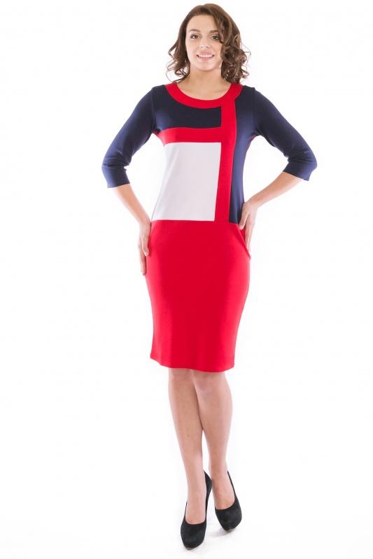 ПлатьеПлатья<br>Повседневное и в тоже время элегантное платье-футляр.  Контрастные вставки платья подчеркивают силуэт. Рукава 3/4. Вырез горловины округлый.   Ткань - плотный трикотаж, характеризующийся эластичностью, растяжимостью и мягкостью.   Цвет: красный, белый, синий  Рост девушки-фотомодели 173 см<br><br>По образу: Свидание,Город<br>По стилю: Повседневный стиль<br>По материалу: Вискоза,Трикотаж<br>По рисунку: Цветные<br>По сезону: Весна,Осень<br>По силуэту: Приталенные<br>По элементам: С декором<br>По форме: Платье - карандаш<br>По длине: Ниже колена<br>Рукав: Рукав три четверти<br>Горловина: С- горловина<br>Размер: 46,48,50,52<br>Материал: 78% вискоза 19% полиэстер 3% эластан<br>Количество в наличии: 8