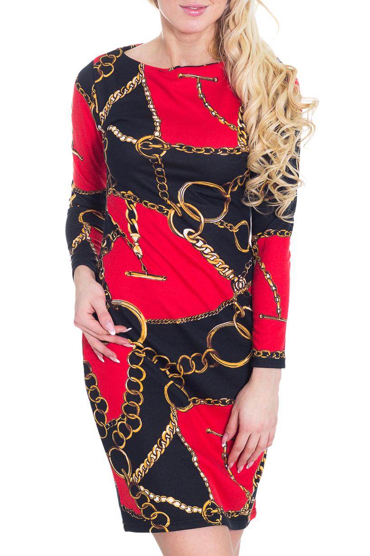 ПлатьеПлатья<br>Великолепное платье с ярким принтом. Модель выполнена из приятного трикотажа. Отличный выбор для повседневного гардероба.  Цвет: красный, желтый, черный  Рост девушки-фотомодели 170 см.<br><br>Горловина: С- горловина<br>По длине: До колена<br>По материалу: Трикотаж<br>По рисунку: Абстракция,Цветные<br>По сезону: Зима<br>По силуэту: Полуприталенные<br>По стилю: Повседневный стиль<br>По форме: Платье - футляр<br>Рукав: Длинный рукав<br>Размер : 44<br>Материал: Трикотаж<br>Количество в наличии: 1