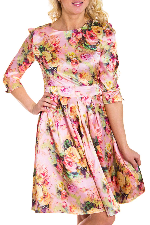 ПлатьеПлатья<br>Женственное платье с круглой горловиной и рукавами 3/4. Модель выполнена из гладкого атласа с цветочным принтом. Отличный вариант для любого торжества.  Цвет: розовый, мультицвет  Рост девушки-фотомодели 170 см<br><br>Горловина: С- горловина<br>По длине: До колена<br>По материалу: Атлас,Вискоза<br>По образу: Свидание<br>По рисунку: Растительные мотивы,Цветные,Цветочные,С принтом<br>По сезону: Весна,Всесезон,Зима,Лето,Осень<br>По стилю: Нарядный стиль,Романтический стиль<br>Рукав: Рукав три четверти<br>По силуэту: Приталенные<br>По элементам: Со складками<br>По форме: Платье - трапеция<br>Размер : 40<br>Материал: Атлас<br>Количество в наличии: 2