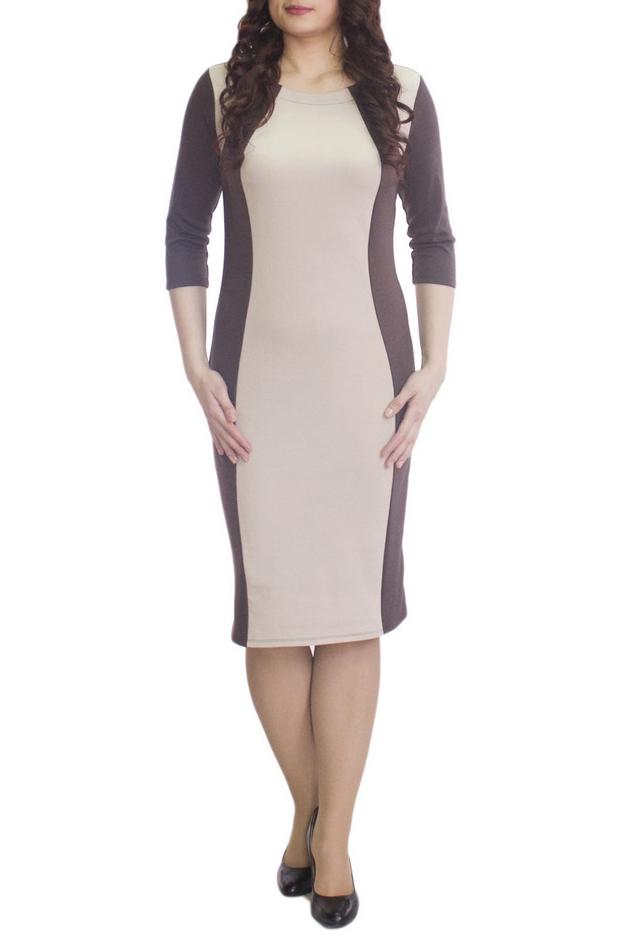 ПлатьеПлатья<br>Повседневное и в то же время элегантное платье, построенное на сочетании двух контрастных цветов и симметричном рисунке. Классический вариант для офиса. Вырез горловины круглый. Рукав 3/4. Ткань - плотный трикотаж, характеризующийся эластичностью, растяжимостью и мягкостью.   Плотность ткани 280 гр/м2  Длина изделия 100-105 см.  В изделии использованы цвета: коричневый, бежевый  Рост девушки-фотомодели 170 см<br><br>Горловина: С- горловина<br>По длине: Ниже колена<br>По материалу: Вискоза,Трикотаж<br>По рисунку: Цветные<br>По силуэту: Приталенные<br>По стилю: Повседневный стиль<br>По форме: Платье - футляр<br>Рукав: Рукав три четверти<br>По сезону: Осень,Весна,Зима<br>Размер : 50,58,60,62<br>Материал: Трикотаж<br>Количество в наличии: 4