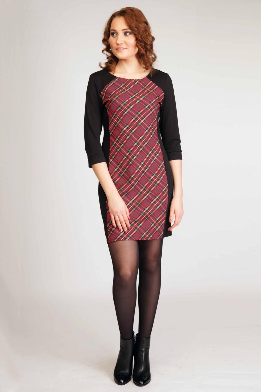 ПлатьеПлатья<br>Утонченное женское платье с округлой горловиной. Модель выполнена из приятного материала. Отличный выбор для любого случая.  Цвет: черный, бордово-красный.  Рост девушки-фотомодели 170 см.<br><br>По образу: Город,Офис,Свидание<br>По стилю: Офисный стиль,Повседневный стиль,Классический стиль,Кэжуал<br>По материалу: Тканевые<br>По рисунку: В полоску,Цветные<br>По сезону: Осень,Весна<br>По силуэту: Приталенные<br>По элементам: С декором<br>По форме: Платье - футляр<br>По длине: До колена<br>Рукав: До локтя<br>Горловина: С- горловина<br>Размер: 44-46,48-50,52-54<br>Материал: 95% полиэстер 5% эластан<br>Количество в наличии: 1