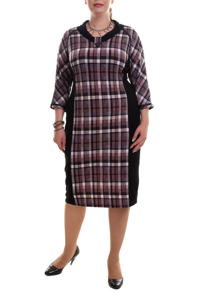 ПлатьеПлатья<br>Великолепное платье с интересной горловиной и рукавами 3/4. Модель выполнена из плотного трикотажа. Отличный выбор для повседневного и делового гардероба.  Цвет: черный, розовый, серый  Рост девушки-фотомодели 173 см.<br><br>Горловина: С- горловина<br>По длине: Ниже колена<br>По материалу: Вискоза,Трикотаж<br>По рисунку: Геометрия,Цветные,С принтом,В клетку<br>По сезону: Зима,Осень,Весна<br>По силуэту: Полуприталенные<br>По стилю: Повседневный стиль<br>По форме: Платье - футляр<br>По элементам: С декором<br>Рукав: Рукав три четверти<br>Размер : 52,56<br>Материал: Трикотаж<br>Количество в наличии: 8