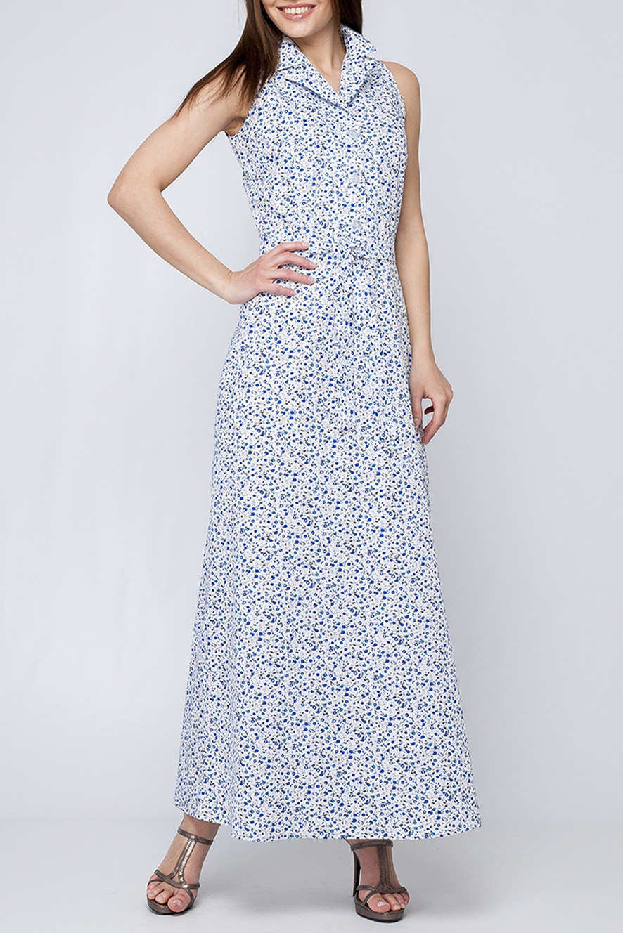 ПлатьеПлатья<br>Эффектное платье в пол. Модель выполнена из хлопкового материала. Отличный выбор для летнего гардероба.  Цвет: белый, синий  Параметры изделия:  44 размер: длина изделия по спинке - 146 см, обхват по линии груди - 92 см;  52 размер: длина изделия по спинке - 151 см, обхват по линии груди - 106 см  Рост девушки-фотомодели 170 см<br><br>Воротник: Отложной<br>Горловина: V- горловина<br>По длине: Макси<br>По материалу: Хлопок<br>По образу: Город,Свидание<br>По рисунку: С принтом,Цветные<br>По силуэту: Полуприталенные<br>По стилю: Повседневный стиль<br>По форме: Платье - трапеция<br>Рукав: Без рукавов<br>По сезону: Лето<br>Размер : 42,46,50<br>Материал: Хлопок<br>Количество в наличии: 3
