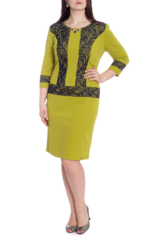 ПлатьеПлатья<br>Нарядное платье приталенного силуэта с круглой горловиной и рукавами 3/4. Модель выполнена из приятного материала. Отличный выбор для любого случая.  В изделии использованы цвета: оливковый, черный  Рост девушки-фотомодели 180 см<br><br>Горловина: С- горловина<br>По длине: До колена<br>По материалу: Гипюр,Тканевые<br>По рисунку: Цветные<br>По сезону: Весна,Зима,Лето,Осень,Всесезон<br>По силуэту: Приталенные<br>По стилю: Нарядный стиль<br>По форме: Платье - футляр<br>По элементам: С декором,С разрезом<br>Разрез: Короткий,Шлица<br>Рукав: Рукав три четверти<br>Размер : 52,58<br>Материал: Плательная ткань + Гипюр<br>Количество в наличии: 3