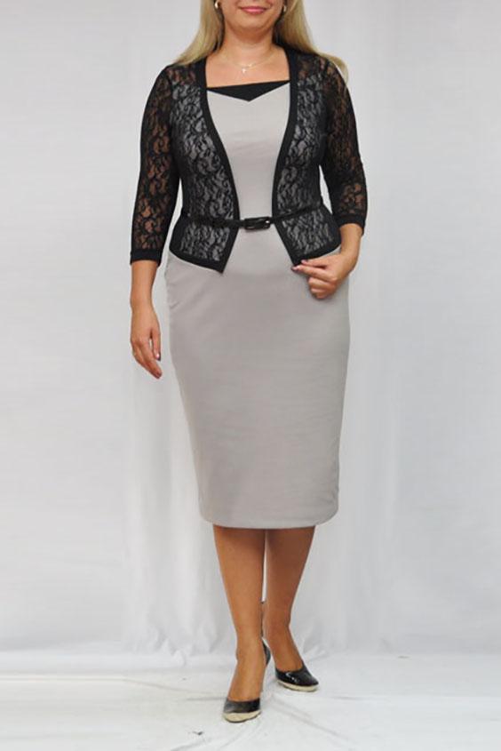 ПлатьеПлатья<br>Красивое платье с имитацией кружевного жакета. Модель выполнена из приятного трикотажа. Отличный выбор для любого случая. Платье без пояса.  Цвет: серый, черный  Рост девушки-фотомодели 173 см.<br><br>Горловина: Квадратная горловина<br>По длине: Ниже колена<br>По материалу: Гипюр,Трикотаж<br>По образу: Свидание<br>По рисунку: Цветные<br>По сезону: Весна,Зима,Лето,Осень,Всесезон<br>По силуэту: Полуприталенные<br>По стилю: Нарядный стиль,Повседневный стиль<br>По форме: Платье - футляр<br>По элементам: С декором<br>Рукав: Рукав три четверти<br>Размер : 68<br>Материал: Трикотаж + Гипюр<br>Количество в наличии: 1