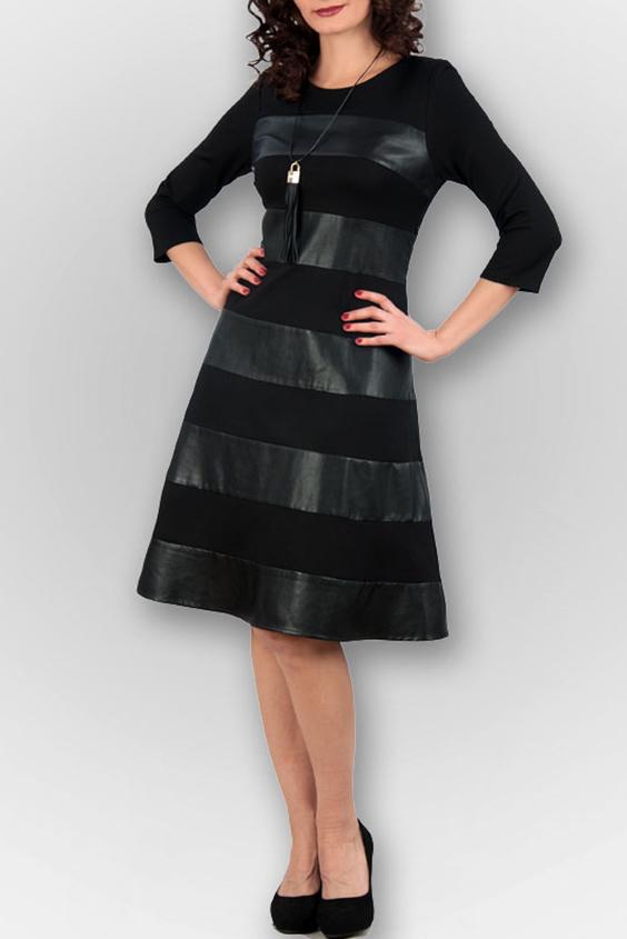 ПлатьеПлатья<br>Черное платье с круглой горловиной и рукавами 3/4. Модель выполнена из приятного материала. Отличный выбор для любого случая.  В изделии использованы цвета: черный  Ростовка изделия 170 см.<br><br>Горловина: С- горловина<br>По длине: Ниже колена<br>По материалу: Трикотаж<br>По рисунку: Однотонные<br>По сезону: Зима,Осень,Весна<br>По силуэту: Приталенные<br>По стилю: Кэжуал,Повседневный стиль<br>По форме: Платье - трапеция<br>Рукав: Рукав три четверти<br>Размер : 44,46,48<br>Материал: Трикотаж<br>Количество в наличии: 4
