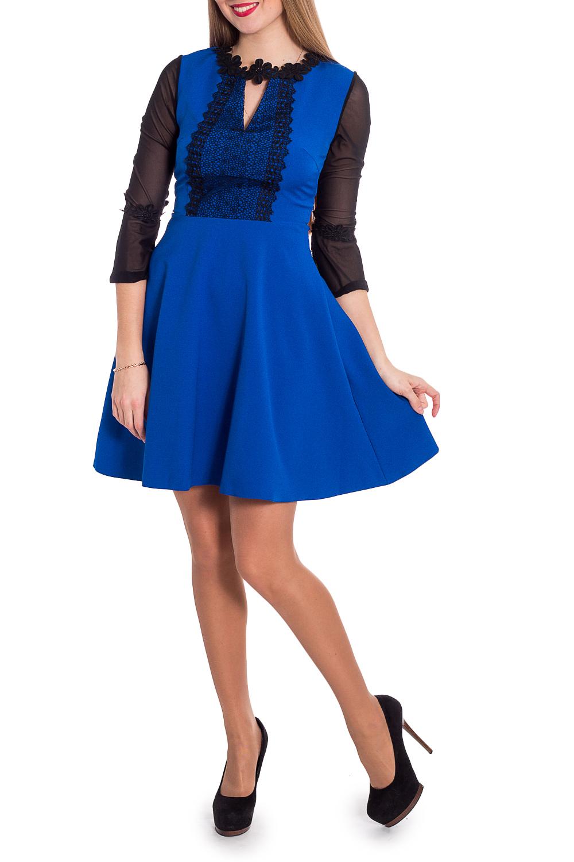 ПлатьеПлатья<br>Нарядное платье с гипюровыми рукавами. Модель выполнена из приятного материала. Отличный выбор для повседневного гардероба.  В изделии использованы цвета: синий, черный  Рост девушки-фотомодели 170 см.<br><br>Горловина: С- горловина<br>По длине: До колена<br>По материалу: Гипюровая сетка,Тканевые<br>По рисунку: Цветные<br>По сезону: Весна,Зима,Лето,Осень,Всесезон<br>По силуэту: Приталенные<br>По стилю: Нарядный стиль<br>По форме: Платье - трапеция<br>По элементам: С декором<br>Рукав: Рукав три четверти<br>Размер : 42,44,46<br>Материал: Плательная ткань + Гипюр<br>Количество в наличии: 3
