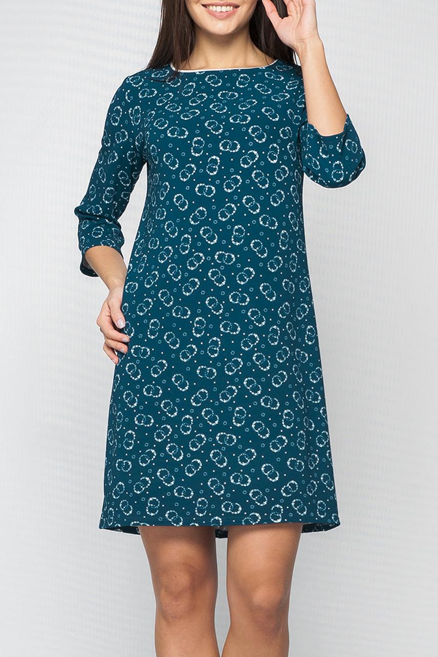 ПлатьеПлатья<br>Платье женское из плотного трикотажа. Прямого А-образного силуэта. Без воротника. Круглая горловина, на обтачке с тонким декоративным кантом контрастного цвета.   Цвет: синий, белый  Параметры изделия:  44 размер: обхват груди 92 см; обхват бедер 100 см; длина изделия 89 см; длина рукава 43,5 см. 52 размер: обхват груди 106 см; обхват бедер 116 см; длина изделия 95,5 см; длина рукава 45 см.  Рост девушки-фотомодели 170 см<br><br>Горловина: С- горловина<br>По длине: До колена<br>По материалу: Трикотаж<br>По рисунку: С принтом,Цветные<br>По силуэту: Полуприталенные<br>По стилю: Повседневный стиль<br>По форме: Платье - трапеция<br>Рукав: Рукав три четверти<br>По сезону: Осень,Весна,Зима<br>Размер : 42,44,46,58<br>Материал: Трикотаж<br>Количество в наличии: 4