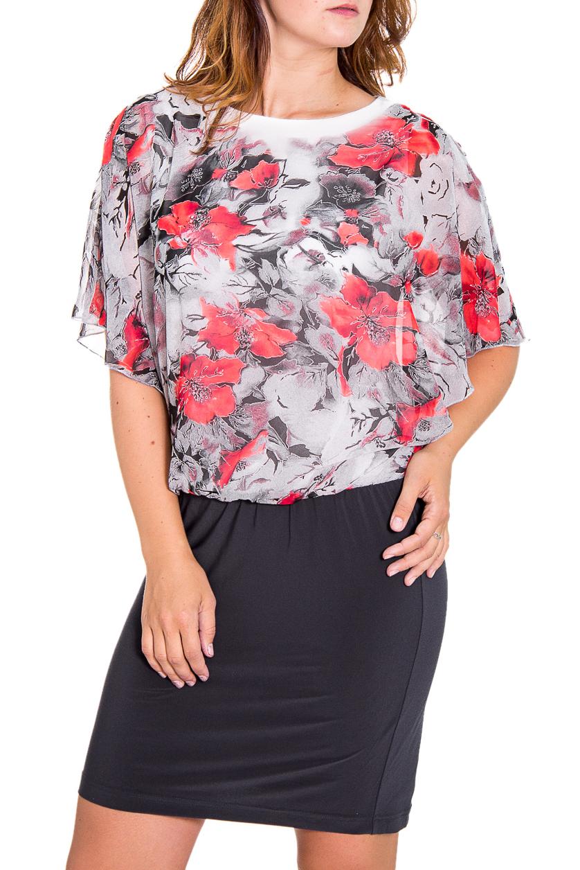 ПлатьеПлатья<br>Интересное женское платье с круглой горловиной и короткими рукавами. Модель выполнена из приятного трикотажа и легкого шифона. Отличный выбор для любого случая.  Цвет: серый, белый, коралловый  Рост девушки-фотомодели 180 см<br><br>Горловина: С- горловина<br>По длине: До колена<br>По материалу: Вискоза,Трикотаж,Шифон<br>По рисунку: Растительные мотивы,Цветные,Цветочные,С принтом<br>По сезону: Весна,Всесезон,Зима,Лето,Осень<br>По силуэту: Полуприталенные<br>По стилю: Повседневный стиль,Нарядный стиль<br>По элементам: С воланами и рюшами<br>По форме: Платье - футляр<br>Рукав: До локтя<br>Размер : 48,54,56,58<br>Материал: Холодное масло + Шифон<br>Количество в наличии: 5