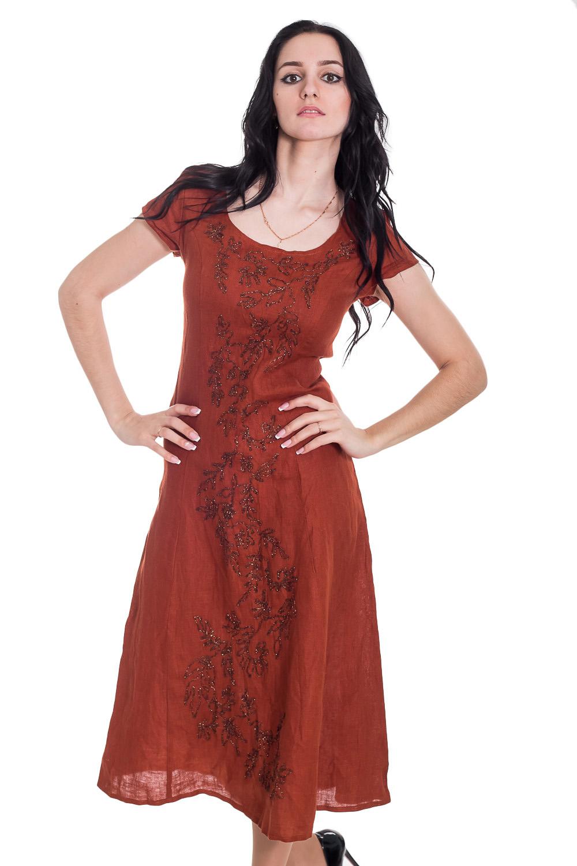 ПлатьеПлатья<br>Прелестное платье из натурального льна - это дивный вариант на лето. Застежка - молния. Короткие рукава.  Цвет: коричневый.  Рост девушки-фотомодели 170 см<br><br>Горловина: С- горловина<br>По длине: Ниже колена<br>По материалу: Лен<br>По образу: Город,Круиз,Свидание<br>По рисунку: Однотонные<br>По силуэту: Полуприталенные,Приталенные<br>По стилю: Греческий стиль,Летний стиль,Повседневный стиль,Романтический стиль,Сафари<br>По форме: Платье - трапеция<br>По элементам: С декором,С молнией<br>Рукав: Короткий рукав<br>По сезону: Лето<br>Размер : 40,42,44,46<br>Материал: Лен<br>Количество в наличии: 3