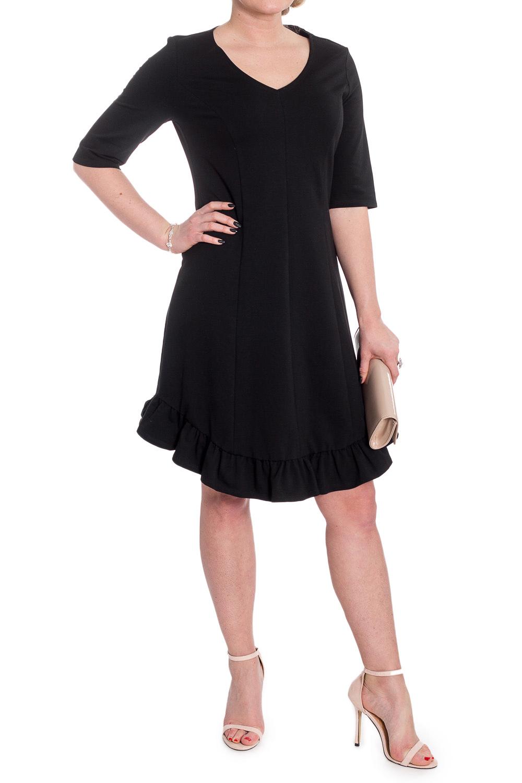 ПлатьеПлатья<br>Стильное и очень удобное платье - настоящая находка для осени или весны. Изделие выглядят очень эффектно и женственно.  Платье полуприлегающего силуэта с фигурным низом и оборкой по низу. На передней и задней частях изделия средний шов и рельефы. Горловина V-образная. Рукав втачной, до локтя.  Цвет: черный.  Длина рукава (от конечной плечевой точки) - 36 ± 1 см  Рост девушки-фотомодели 170 см  Длина изделия: 46 размер - 97 ± 2 см 48 размер - 97 ± 2 см 50 размер - 97 ± 2 см 52 размер - 97 ± 2 см 54 размер - 100 ± 2 см 56 размер - 100 ± 2 см 58 размер - 100 ± 2 см<br><br>Горловина: V- горловина<br>По длине: До колена<br>По материалу: Трикотаж,Хлопок<br>По рисунку: Однотонные<br>По силуэту: Полуприталенные<br>По стилю: Классический стиль,Нарядный стиль,Повседневный стиль<br>По элементам: С воланами и рюшами,С декором,С фигурным низом<br>Рукав: До локтя<br>По сезону: Осень,Весна<br>Размер : 48,50,52,54,56,58<br>Материал: Трикотаж<br>Количество в наличии: 26