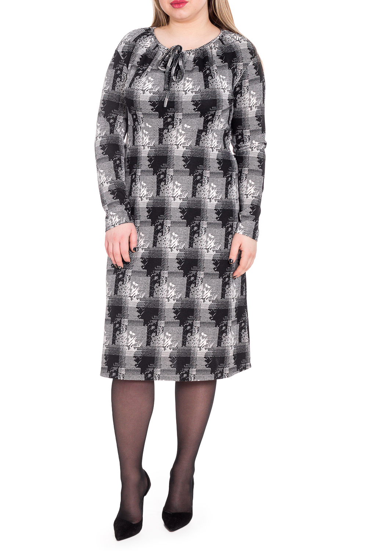 ПлатьеПлатья<br>Необыкновенно красвое платье силуэта трапеция, отрезное под грудью. На спинке средний шов. Горловина окантована, со сборкой и декоративным бантом. Рукав со спущенной линией плеча, длинный.  В изделии использованы цвета: черный, серый и др.  Длина рукава (от конечной плечевой точки) - 59 ± 1 см  Рост девушки-фотомодели 170 см  Длина изделия: 46 размер - 104 ± 2 см 48 размер - 104 ± 2 см 50 размер - 104 ± 2 см 52 размер - 104 ± 2 см 54 размер - 107 ± 2 см 56 размер - 107 ± 2 см 58 размер - 107 ± 2 см<br><br>Горловина: С- горловина<br>По длине: Ниже колена<br>По материалу: Трикотаж<br>По рисунку: Абстракция,Цветные<br>По сезону: Осень,Зима<br>По силуэту: Полуприталенные<br>По стилю: Классический стиль,Кэжуал,Офисный стиль,Повседневный стиль<br>По форме: Платье - трапеция<br>По элементам: С завязками<br>Рукав: Длинный рукав<br>Размер : 48,50,52,54<br>Материал: Трикотаж<br>Количество в наличии: 29