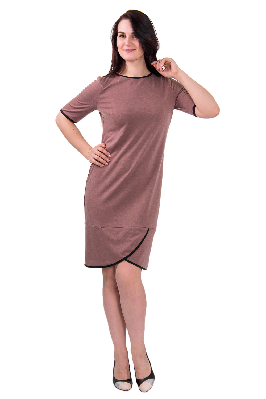 ПлатьеПлатья<br>Стильное женское платье полуприлегающего силуэта и широкой ассиметричной планкой по низу. На спинке средний шов. Горловина, низ рукава и низ изделия окантованы. Рукав втачной, до локтя. Цвет: коричневый.  Длина рукава - 30 ± 2 см  Рост девушки-фотомодели 180 см  Длина изделия: 48 размер - 94 ± 2 см 50 размер - 94 ± 2 см 52 размер - 94 ± 2 см 54 размер - 96 ± 2 см 56 размер - 96 ± 2 см 58 размер - 96 ± 2 см<br><br>По образу: Город,Офис,Свидание<br>По стилю: Классический стиль,Молодежный стиль,Офисный стиль,Повседневный стиль,Кэжуал<br>По материалу: Трикотаж,Хлопок<br>По рисунку: Однотонные<br>По сезону: Весна,Осень<br>По силуэту: Полуприталенные<br>По элементам: С фигурным низом,С декором<br>По форме: Платье - футляр<br>По длине: До колена<br>Рукав: До локтя<br>Горловина: С- горловина<br>Размер: 50,52,54,56,58,48<br>Материал: 50% хлопок 45% полиэстер 5% эластан<br>Количество в наличии: 1