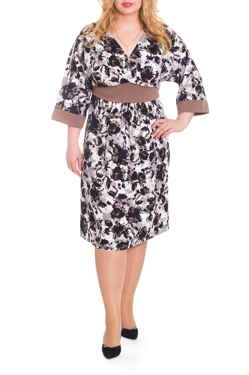 ПлатьеПлатья<br>Великолепное женское платье с завышенной линией талии. Выполнено из приятного к телу трикотажа контрастной расцветки.  Платье полуприлегающего силуэта с втачным фигурным поясом под грудью. На спинке средний шов. Горловина на запах. Рукав цельнокроенный, 3/4, с притачной манжетой.  Цвет: белый, коричневый, бежевый, черный и др.  Длина рукава (от конечной плечевой точки) - 42 ± 1 см  Рост девушки-фотомодели 178 см  Длина изделия - 106 ± 2 см<br><br>Горловина: V- горловина,Запах<br>По длине: Ниже колена<br>По материалу: Трикотаж<br>По рисунку: Растительные мотивы,С принтом,Цветные,Цветочные<br>По силуэту: Полуприталенные<br>По стилю: Повседневный стиль<br>По форме: Платье - футляр<br>По элементам: С вырезом,С завышенной талией,С манжетами,Со складками<br>Рукав: Рукав три четверти<br>По сезону: Осень,Весна<br>Размер : 56,58,60,62,64,66<br>Материал: Трикотаж<br>Количество в наличии: 16
