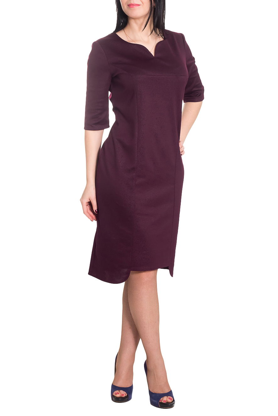ПлатьеПлатья<br>Классика и элегантность - это залог успеха для создания Вашего повседневного образа. Дополните это стильное платье модными аксессуарами и завершите образ успешной женщины  Платье полуприлегающего силуэта с фигурным низом. На передней части изделия рельефы и кокетка со средний швом. На спинке средний шов. Горловина обработана обтачкой. Рукав втачной, до локтя.  Цвет: бордовый.  Длина рукава - 37 ± 1 см  Рост девушки-фотомодели 170 см  Длина изделия: 44 размер - 103 ± 2 см 46 размер - 103 ± 2 см 48 размер - 103 ± 2 см 50 размер - 103 ± 2 см 52 размер - 106 ± 2 см 54 размер - 106 ± 2 см 56 размер - 106 ± 2 см<br><br>По длине: Ниже колена<br>По материалу: Трикотаж<br>По образу: Город,Офис<br>По рисунку: Однотонные<br>По силуэту: Полуприталенные<br>По стилю: Офисный стиль,Повседневный стиль<br>По форме: Платье - футляр<br>По элементам: С декором,С фигурным низом<br>Рукав: Рукав три четверти<br>По сезону: Осень,Весна<br>Размер : 46,48,50,52,54,56<br>Материал: Трикотаж<br>Количество в наличии: 29