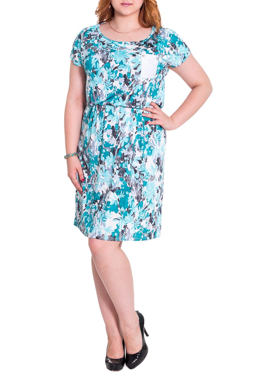 ПлатьеПлатья<br>Платье свободного кроя с резинкой по талии, длиной чуть выше колена. Спущенная линия плеча. Карман на груди. Пуговицы по плечу. На кармане хольнитены. Горловина и пройма обработаны окантовкой. Цвет: на белом фоне голубой и серый принт.  Рост девушки-фотомодели 169 см  Длина изделия - 100 ± 2 см<br><br>Горловина: С- горловина<br>По длине: До колена<br>По материалу: Трикотаж<br>По рисунку: Растительные мотивы,С принтом,Цветные<br>По сезону: Лето<br>По стилю: Летний стиль,Повседневный стиль,Романтический стиль<br>По элементам: С карманами<br>Рукав: Короткий рукав<br>Размер : 50<br>Материал: Холодное масло<br>Количество в наличии: 2