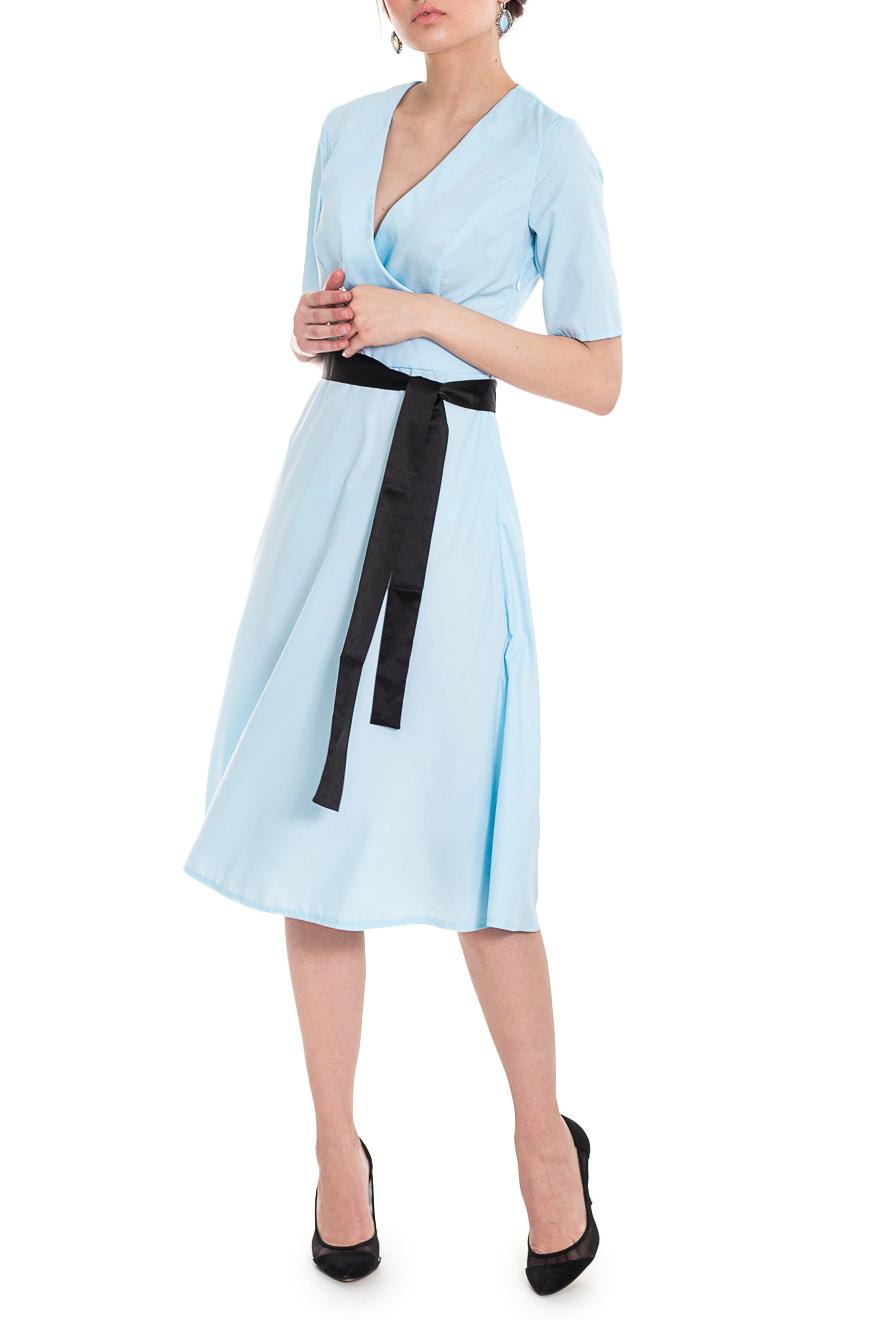 ПлатьеПлатья<br>Элегантное и женственное платье, которое подойдет любому типу фигуры, выполненное из легкого, качественного материала. Подарите себе это изысканноое изделие  Платье приталенного силуэта, отрезное по линии талии, со съемным поясом. Лиф на запах. Горловина обработана обтачками. Рукав втачной, до локтя. Застежка - молния.   Цвет: голубой.  Длина рукава - 29 ± 1 см  Рост девушки-фотомодели 169 см  Длина изделия - 106 ± 2 см<br><br>Горловина: V- горловина,Запах<br>По длине: Ниже колена<br>По материалу: Тканевые<br>По образу: Город,Офис,Свидание<br>По рисунку: Однотонные<br>По сезону: Весна,Лето,Осень<br>По силуэту: Полуприталенные,Приталенные<br>По стилю: Винтаж,Классический стиль,Летний стиль,Молодежный стиль,Повседневный стиль,Романтический стиль,Ультрамодный стиль<br>По форме: Платье - трапеция<br>По элементам: С вырезом,С декором,С молнией,Со складками<br>Рукав: До локтя<br>Размер : 42,44,46,48,50,52<br>Материал: Блузочная ткань<br>Количество в наличии: 13