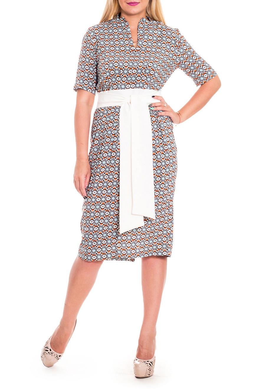 ПлатьеПлатья<br>Великолепное, женственное платье - это залог успеха для создания Вашего повседневного образа. Дополните это стильное платье модными аксессуарами и завершите образ успешной женщины  Платье приталенного силуэта с втачным поясом по талии и отлетными поясами, втаченными в боковой шов. На передней части изделия складки. На спинке средний шов с молнией и шлицей. Воротник пиджачного типа. Рукав втачной, до локтя.  В изделии использованы цвета: белый, коричневый, оранжевый и др.  Длина рукава - 28 ± 1 см  Рост девушки-фотомодели 170 см  Длина изделия: 44 размер - 106 ± 2 см 46 размер - 106 ± 2 см 48 размер - 106 ± 2 см 50 размер - 106 ± 2 см 52 размер - 110 ± 2 см 54 размер - 110 ± 2 см 56 размер - 110 ± 2 см<br><br>Горловина: V- горловина<br>По длине: Ниже колена<br>По материалу: Тканевые<br>По образу: Город,Свидание<br>По рисунку: Геометрия,С принтом,Цветные,Этнические<br>По силуэту: Полуприталенные,Приталенные<br>По стилю: Кэжуал,Повседневный стиль<br>По форме: Платье - футляр<br>По элементам: С воротником,С вырезом,С декором,С молнией,С поясом,С разрезом,Со складками<br>Разрез: Шлица<br>Рукав: До локтя<br>По сезону: Осень,Весна<br>Размер : 54<br>Материал: Плательно-блузочная ткань<br>Количество в наличии: 1