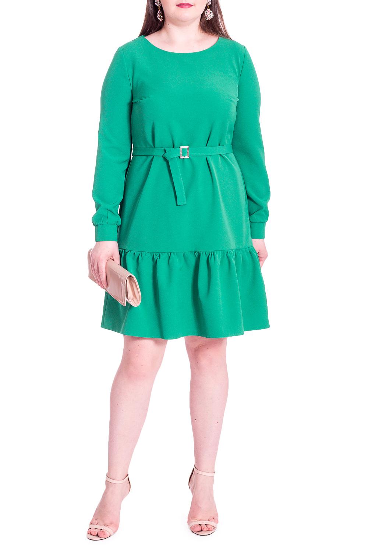 ПлатьеПлатья<br>Это очаровательное платье придаст гардеробу новое дыхание! Благодаря лаконичному фасону, эта модель легко подойдет к другим предметам гардероба и позволит создавать стильные образы.Платье полуприлегающего силуэта со съемным поясом с пряжкой. По низу широкий волан. На спинке средний шов. Горловина обработана обтачкой. Рукав втачной, длинный, по низу манжета с застежкой на пуговицу.Цвет: зеленый.Длина рукава - 60 ± 1 смРост девушки-фотомодели 170 смДлина изделия - 96 ± 2 см<br><br>Горловина: С- горловина<br>Рукав: Длинный рукав<br>Длина: До колена<br>Материал: Тканевые<br>Рисунок: Однотонные<br>Сезон: Весна,Осень<br>Силуэт: Полуприталенные<br>Стиль: Нарядный стиль,Повседневный стиль<br>Форма: Платье - трапеция<br>Элементы: С воланами и рюшами,С декором,С манжетами,С поясом,С фигурным низом<br>Размер : 50<br>Материал: Плательная ткань<br>Количество в наличии: 1
