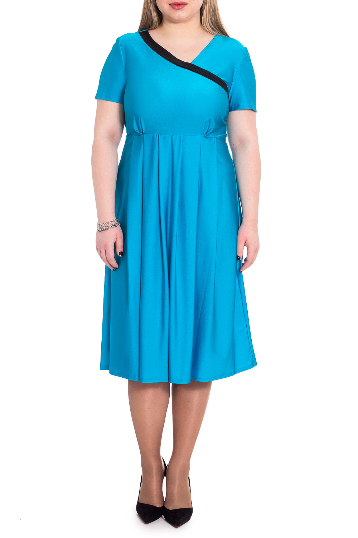 ПлатьеПлатья<br>Элегантное платье из струящегося трикотажа станет лучшим предложением для современных женщин.   Платье полуприлегающего силуэта, отрезное выше линии талии. По юбке заложены встречные складки. На передней части лифа асимметричный запах с контрастной отделкой и складки под грудью. На спинке средний шов. Рукав втачной, короткий.  Цвет: ярко-голубой.  Длина рукава - 21 ± 2 см  Рост девушки-фотомодели 170 см  Длина изделия: 46 размер - 112 ± 2 см 48 размер - 112 ± 2 см 50 размер - 112 ± 2 см 52 размер - 112 ± 2 см 54 размер - 114 ± 2 см 56 размер - 114 ± 2 см 58 размер - 114 ± 2 см<br><br>По длине: Ниже колена<br>По материалу: Трикотаж<br>По рисунку: Однотонные<br>По силуэту: Полуприталенные<br>По стилю: Повседневный стиль<br>По форме: Платье - трапеция<br>По элементам: С вырезом,С декором,Со складками<br>Рукав: Короткий рукав<br>По сезону: Лето<br>Горловина: V- горловина,Запах<br>Размер : 50,52,54,56<br>Материал: Трикотаж<br>Количество в наличии: 8