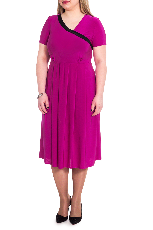 ПлатьеПлатья<br>Элегантное платье из струящегося трикотажа станет лучшим предложением для современных женщин.   Платье полуприлегающего силуэта, отрезное выше линии талии. По юбке заложены встречные складки. На передней части лифа асимметричный quot;запахquot; с контрастной отделкой и складки под грудью. На спинке средний шов. Рукав втачной, короткий.  Цвет: ярко-розовый.  Длина рукава - 21 ± 2 см  Рост девушки-фотомодели 170 см  Длина изделия: 46 размер - 112 ± 2 см 48 размер - 112 ± 2 см 50 размер - 112 ± 2 см 52 размер - 112 ± 2 см 54 размер - 114 ± 2 см 56 размер - 114 ± 2 см 58 размер - 114 ± 2 см<br><br>По длине: Ниже колена<br>По материалу: Трикотаж<br>По рисунку: Однотонные<br>По сезону: Весна,Лето<br>По силуэту: Полуприталенные<br>По стилю: Летний стиль,Повседневный стиль<br>По форме: Платье - трапеция<br>По элементам: С вырезом,С декором,Со складками<br>Рукав: Короткий рукав<br>Горловина: V- горловина,Запах<br>Размер : 50,52<br>Материал: Трикотаж<br>Количество в наличии: 3
