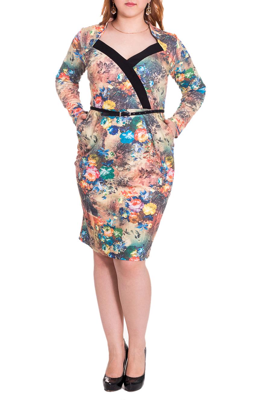 ПлатьеПлатья<br>Очаровательное женское платье приталенного силуэта с подрезом по талии. На лифе декоративная планка. От линии талии заложены вертикальные складки. Изделие с карманами. Пояс в комплект не входит. Цвет: мультицвет.  Длина рукава - 61 ± 1 см   Рост девушки-фотомодели 169 см  Длина изделия: 46 размер - 101 ± 2 см 48 размер - 102 ± 2 см 50 размер - 103 ± 2 см 52 размер - 104 ± 2 см 54 размер - 105 ± 2 см<br><br>Горловина: V- горловина<br>По длине: Ниже колена<br>По материалу: Трикотаж,Хлопок<br>По рисунку: Растительные мотивы,С принтом,Цветные,Цветочные<br>По сезону: Весна,Осень<br>По силуэту: Приталенные<br>По стилю: Повседневный стиль,Романтический стиль<br>По форме: Платье - футляр<br>По элементам: С вырезом,С декором,С карманами,Со складками<br>Размер : 48,50<br>Материал: Трикотаж<br>Количество в наличии: 12