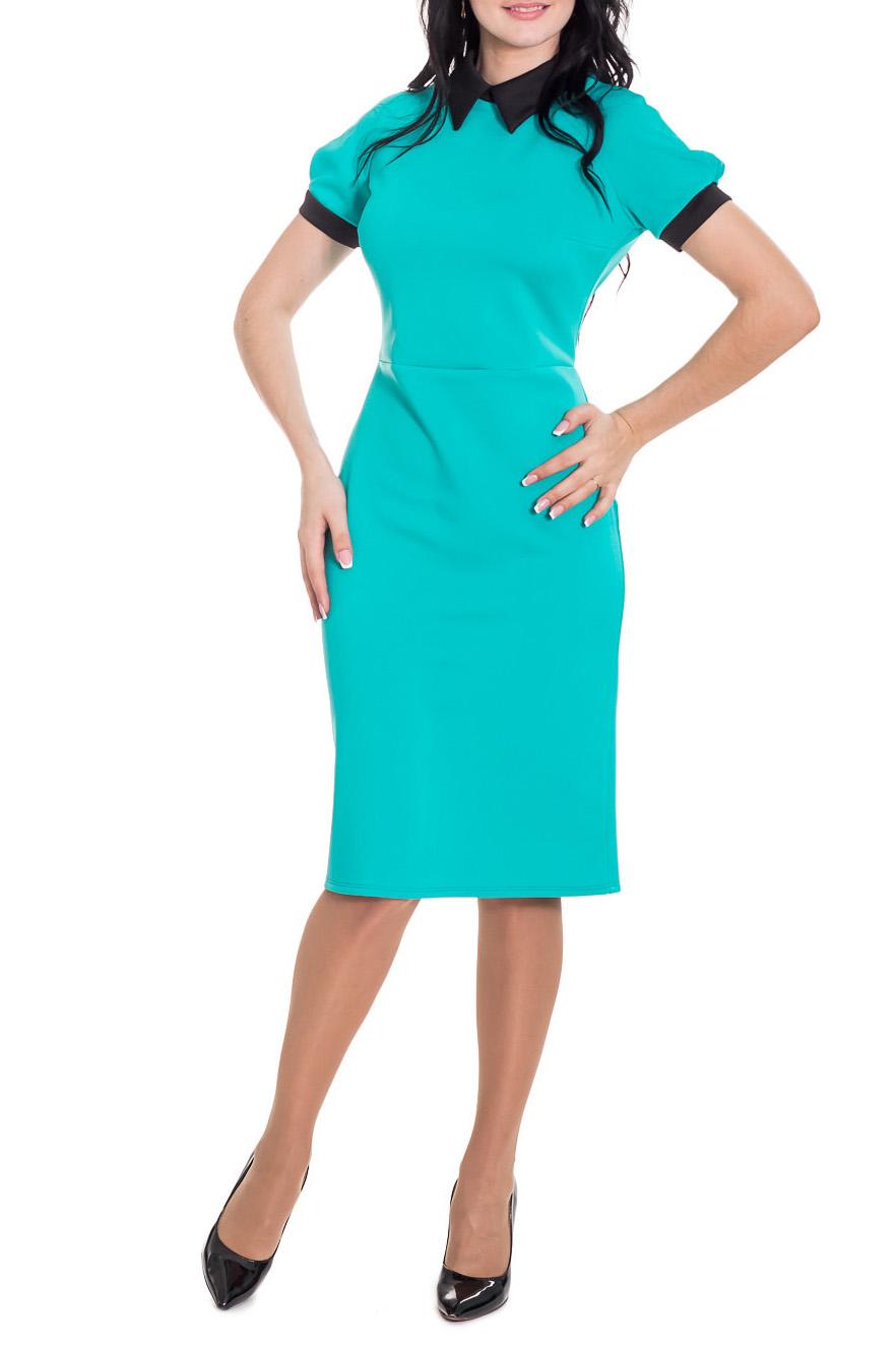 ПлатьеПлатья<br>Классика и элегантность - это залог успеха для создания Вашего повседневного образа. Дополните это стильное платье модными аксессуарами и завершите образ успешной женщины  Элегантное, деловое платье с коротким рукавом, реглан по низу манжета, воротник стояче-отложной, по спинке молния и шлица.  Цвет: бирюзовый.  Рост девушки-фотомодели 170 см  Длина изделия - 104 ± 2 см<br><br>Воротник: Рубашечный,Стояче-отложной<br>По длине: Ниже колена<br>По материалу: Трикотаж<br>По рисунку: Однотонные<br>По силуэту: Приталенные<br>По стилю: Классический стиль,Кэжуал,Офисный стиль,Повседневный стиль<br>По форме: Платье - футляр<br>По элементам: С воротником,С декором,С манжетами,С молнией,С разрезом<br>Разрез: Шлица<br>Рукав: Короткий рукав<br>По сезону: Осень,Весна<br>Размер : 44<br>Материал: Трикотаж<br>Количество в наличии: 1