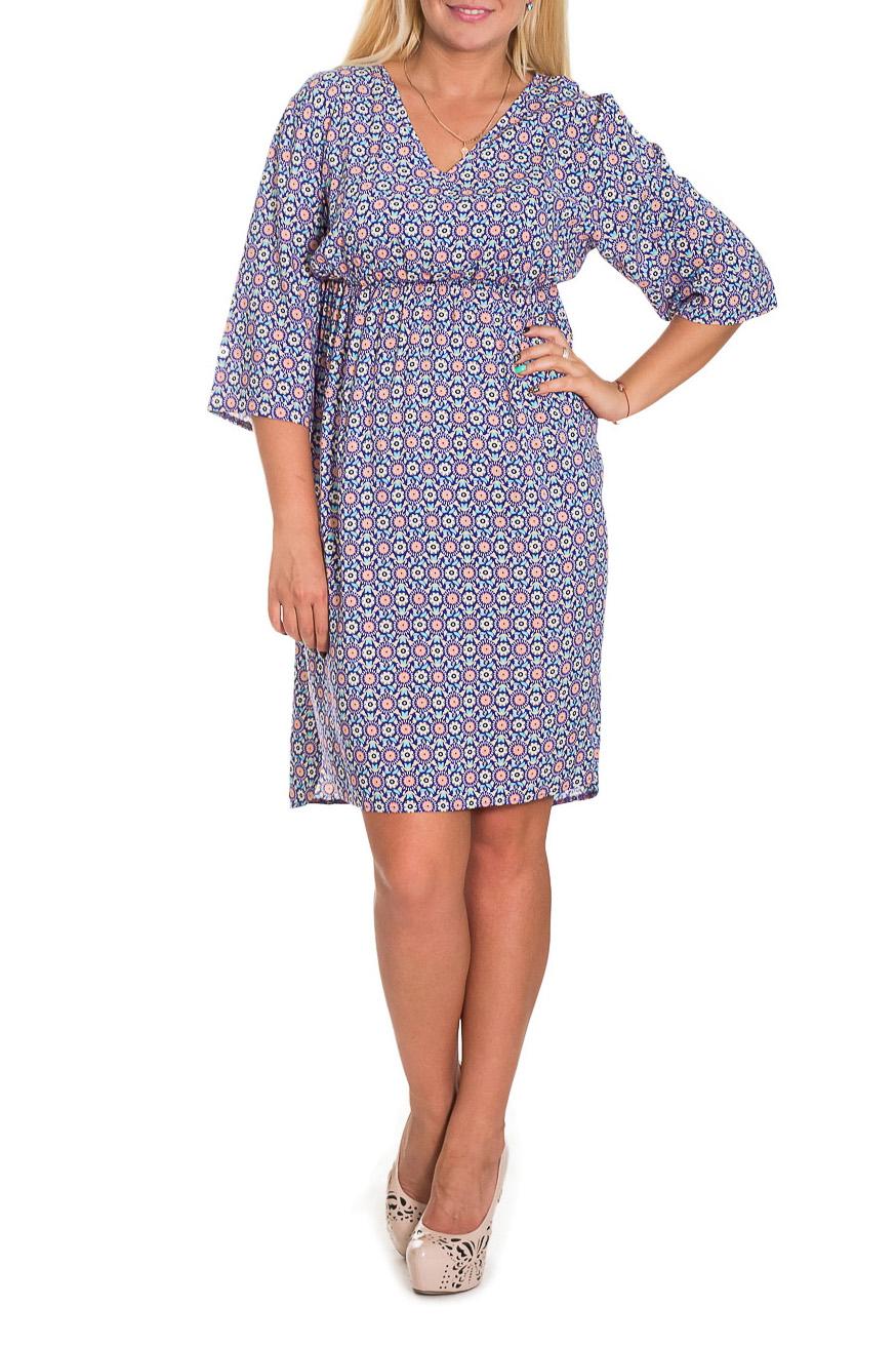ПлатьеПлатья<br>Яркое платье расклешенного силуэта - это дивный вариант на лето. Украшена модель контрастным рисунком. Платье расклешенного силуэта, под грудью резинка, вырез на уголок, рукав рубашечный 3\4.  Цвет: синий, сиреневый, розовый и др.  Рост девушки-фотомодели 170 см  Длина изделия - 102 ± 2 см<br><br>Горловина: V- горловина<br>По длине: До колена<br>По материалу: Вискоза,Тканевые<br>По образу: Город,Свидание<br>По рисунку: Абстракция,С принтом,Цветные<br>По силуэту: Полуприталенные<br>По стилю: Летний стиль,Повседневный стиль<br>По элементам: С завышенной талией,С разрезом<br>Рукав: Рукав три четверти<br>По сезону: Лето,Осень,Весна<br>По форме: Платье - футляр<br>Разрез: Короткий<br>Размер : 52,54,56<br>Материал: Плательно-блузочная ткань<br>Количество в наличии: 5