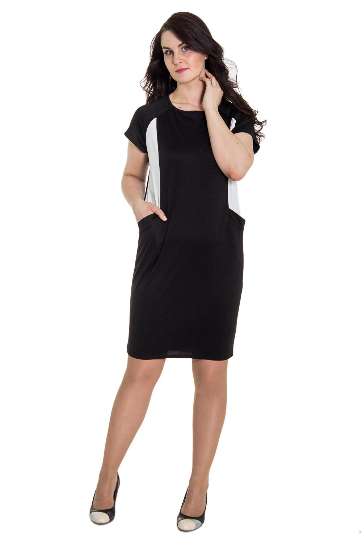 ПлатьеПлатья<br>Платье силуэта кокон с отрезными бочками и карманами с листочкой. На спинке средний шов и шлица. Горловина обработана окантовкой. Рукав реглан, короткий.  Цвет: черный с белым  Длина рукава - 16 cм  Рост девушки-фотомодели - 180 см  Длина изделия: 48 размер - 101 см 50 размер - 101 см 52 размер - 101см 54 размер - 103 см 56 размер - 103 см 58 размер - 103 см<br><br>По образу: Город,Офис,Свидание<br>По стилю: Молодежный стиль,Повседневный стиль<br>По материалу: Трикотаж,Хлопок<br>По рисунку: Цветные<br>По сезону: Осень,Весна<br>По силуэту: Полуприталенные<br>По элементам: С карманами<br>По форме: Платье - футляр<br>По длине: До колена<br>Рукав: Короткий рукав<br>Горловина: С- горловина<br>Размер: 50,52,54,56,58,46,48<br>Материал: 50% хлопок 45% полиэстер 5% эластан<br>Количество в наличии: 3