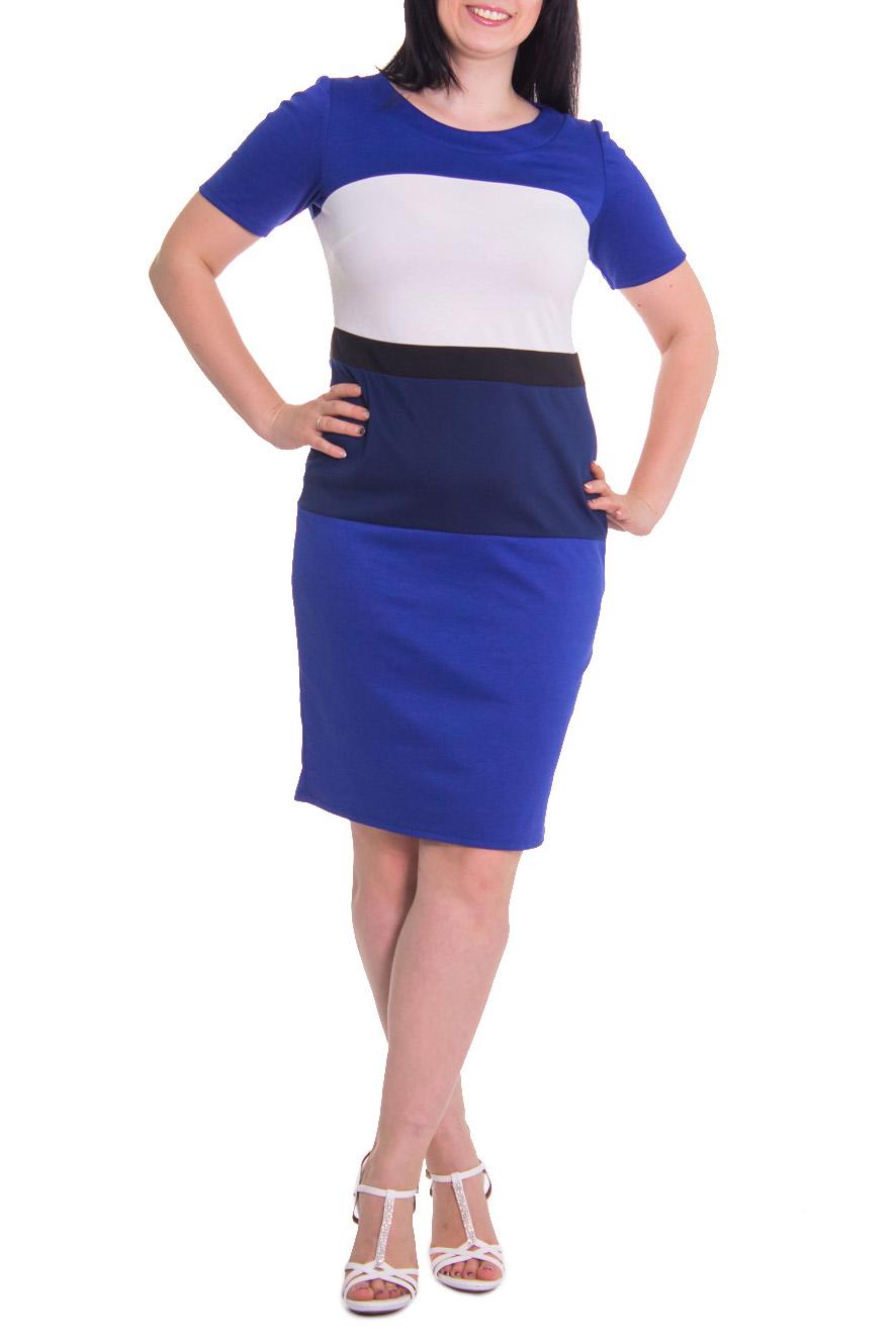 ПлатьеПлатья<br>Платье прилегающего силуэта с втачным поясом и вставками на передней и задней частях изделия. Горловина обработана двойной обтачкой. Рукав втачной, короткий.  Цвет: синий с белым  Длина рукава - 26 см  Рост девушки-фотомодели - 168 см  Длина изделия - 101 см<br><br>Горловина: С- горловина<br>По рисунку: Цветные<br>По сезону: Весна,Осень<br>По силуэту: Полуприталенные<br>Рукав: Короткий рукав<br>По форме: Платье - футляр<br>По материалу: Трикотаж,Хлопок<br>По стилю: Повседневный стиль<br>По длине: До колена<br>Размер : 48,50<br>Материал: Джерси<br>Количество в наличии: 6