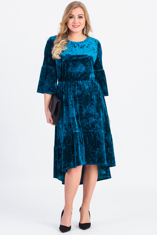 Бархатное платье с фигурным низом