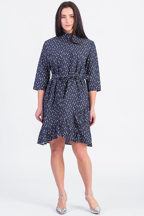 Платье с асимметричными воланами